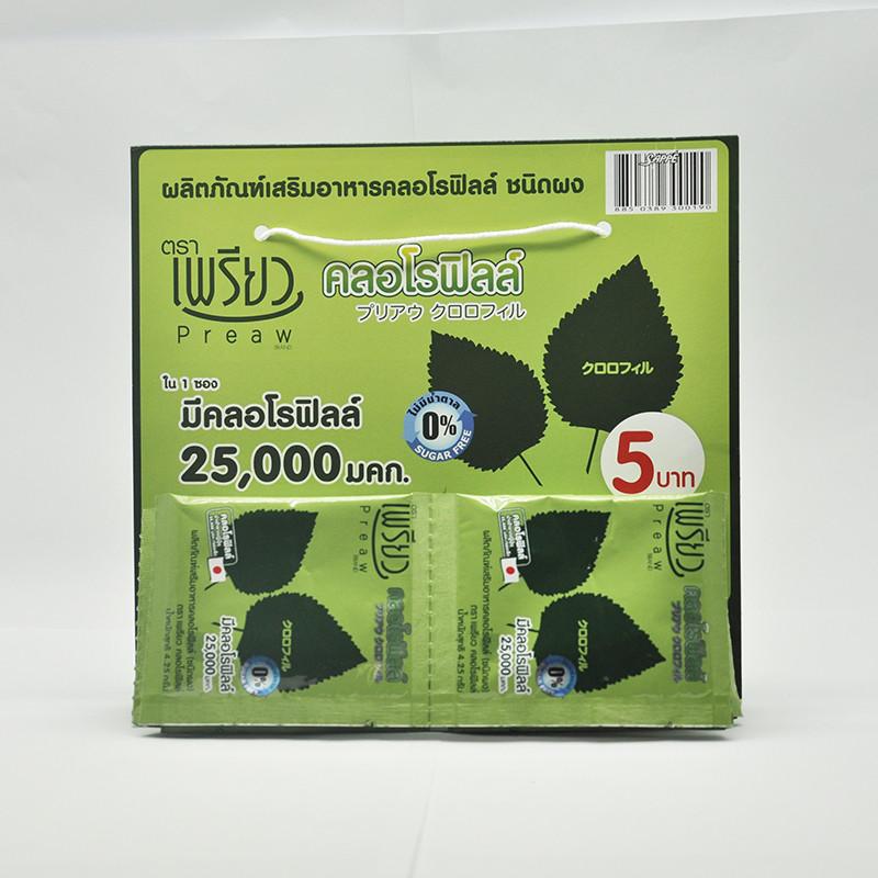 Preaw Хлорофилл в порошке, 12 пакетиков по 4,25 гр