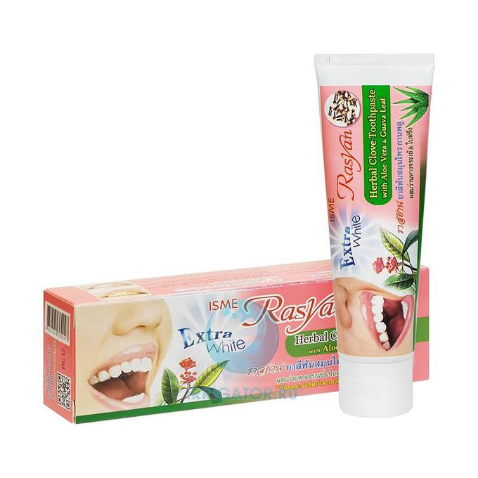 Isme Rasyan Herbal Glove Toothpaste, Зубная паста отбеливающая с гвоздикой (Туб), 30 гр