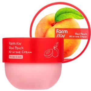 Farm Stay Real Peach All-in-One Cream, Крем для тела с ароматом персика, 300 мл
