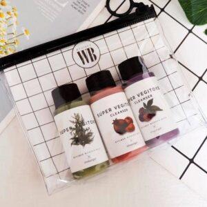 Wonder Bath Super Vegitoks Cleanser Kit, Набор мини-форматов для умывания, 3 шт