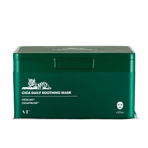 VT Cica Daily Soothing Mask, Набор успокаивающих тканевых масок в боксе, 30 штук