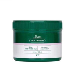 VT Cica Mild Toner Pad, Очищающие пэды для чувствительной кожи с центеллой, 60 шт