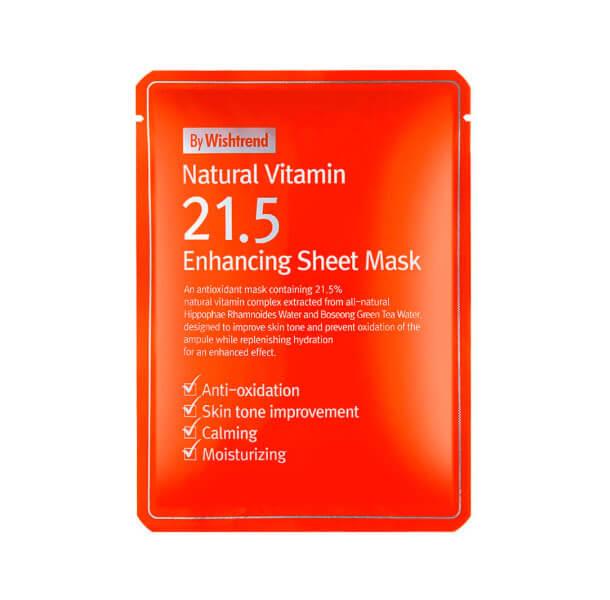 By Wishtrend Natural Vitamin 21.5% Enhancing Sheet Mask, Витаминная антиоксидантная тканевая маска 1шт