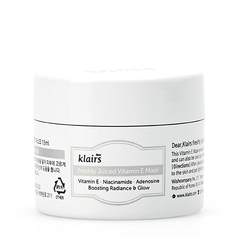Klairs Freshly Juiced Vitamin E Mask, Маска - миниатюра для лица с витамином Е и ниацинамидом, 15 мл