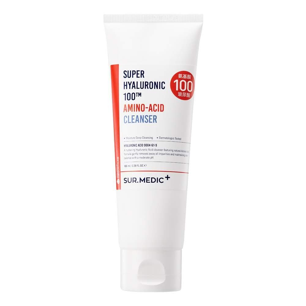 Sur.Medic+ Super Hyaluronic 100tm Amino-Acid Cleanser, Увлажняющая пенка с гиалуроновой кислотой, 100 мл