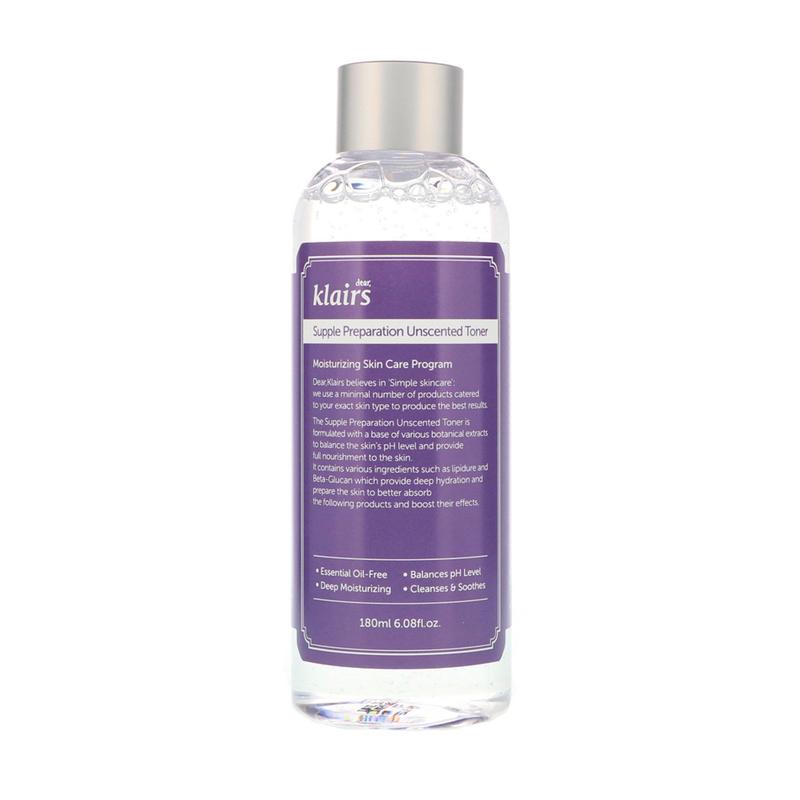 Klairs Supple Unscented Toner, Тонер для лица увлажняющий без запаха, 180 мл