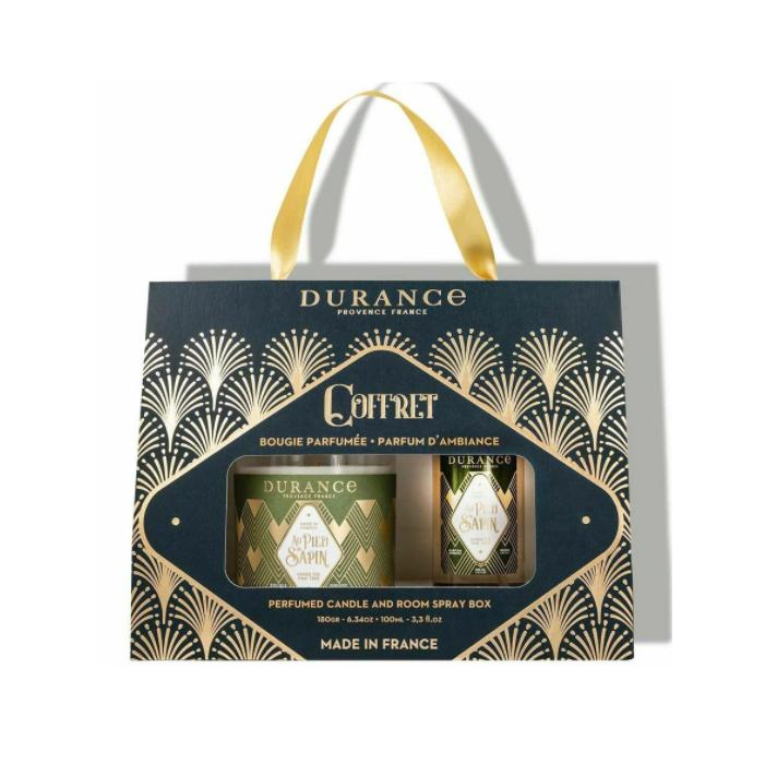 Durance Box Under The Pine Tree, Набор ароматическая свеча и спрей для дома, аромат Под елью