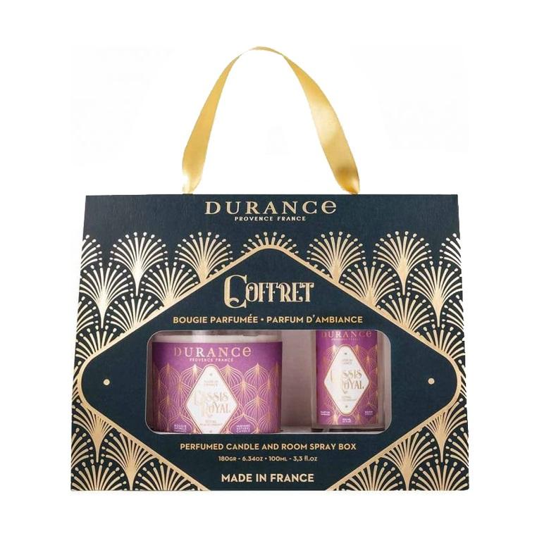 Durance Box Royal blackcurrant, Набор ароматическая свеча и спрей для дома, аромат Королевская черная смородина