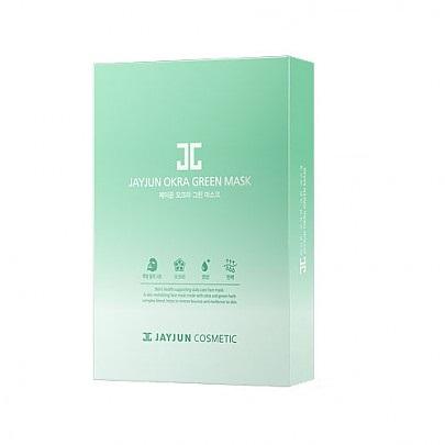 Jay Jun Okra Green Mask, Восстанавливающая тканевая маска с экстрактом бамии, 1 шт