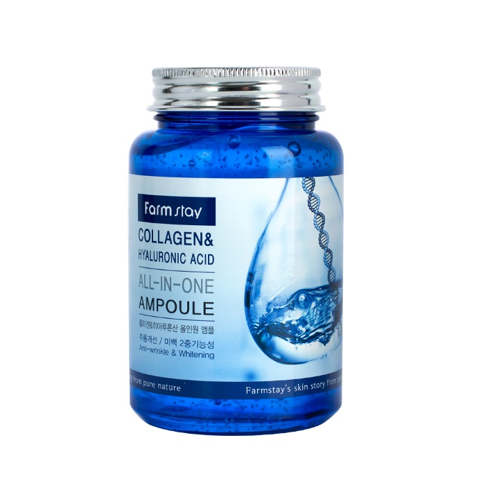 FarmStay All In One Collagen and Hyaluronic Ampoule, Ампула для лица с коллагеном и гиалуроновой кислотой, 250 мл