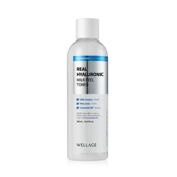 Wellage Real Hyaluronic Milk Peel Toner, Гиалуроновый пилинг тонер, 200 мл