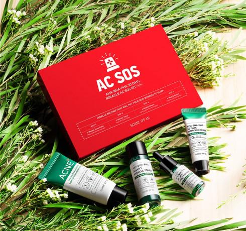 Some By Mi AC SOS AHA-BHA-PHA 30 Days Miracle AC SOS Kit, Набор миниатюр с кислотами для проблемной кожи